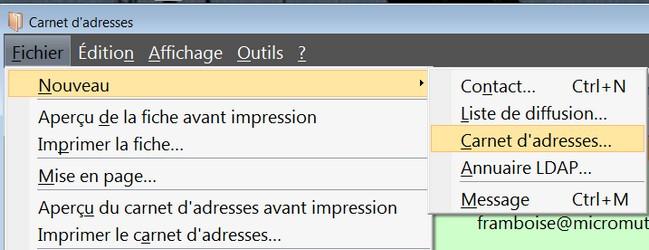 Thunderbird gerer carnet adresses for Imprimer depuis outlook