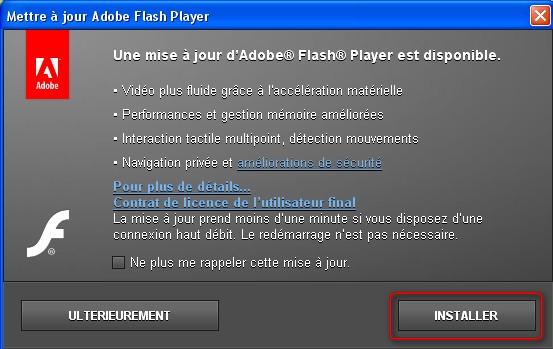 comment mettre 0 jour flash player